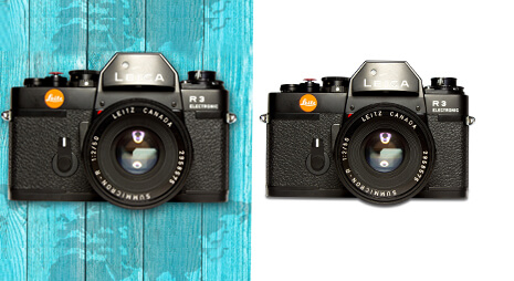 Before and after comparison with camera clipping path