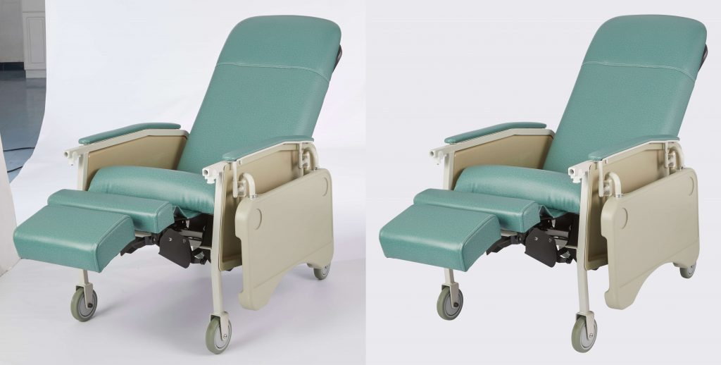 Before and after medical chair photo clipping path